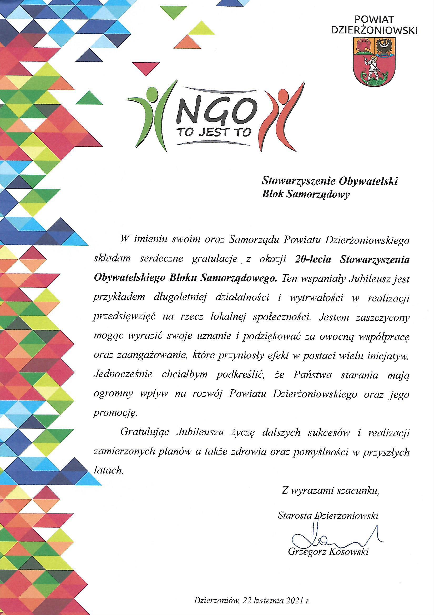 OBS-list Starosty z okazji 20lecia 22.04.21