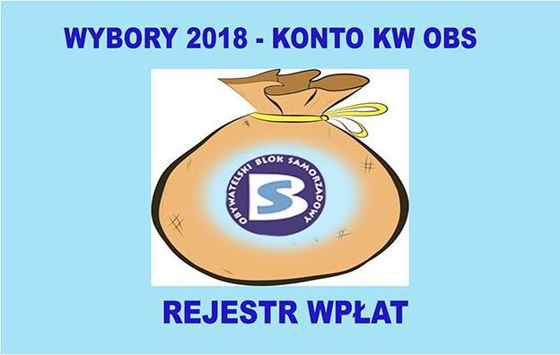 WYBORY 2018 – KONTO KW OBS-REJESTR WPŁAT